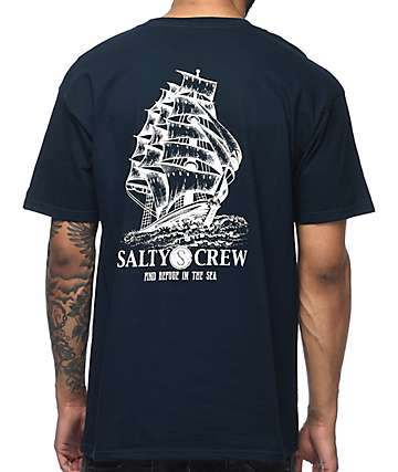 Salty Crew Weather Helm Navy T-Shirt
