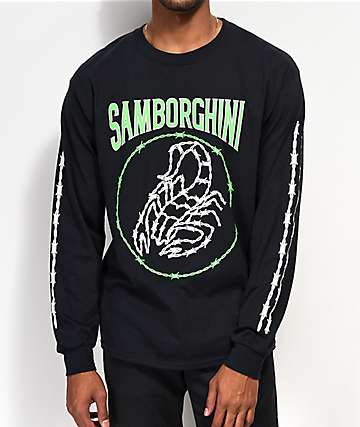 Samborghini Barbed Wire Scorpion Black Long Sleeve T-Shirt