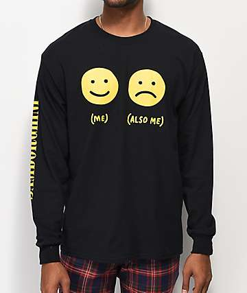 Samborghini Smile Face Long Sleeve Black T-Shirt