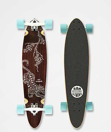 "San Clemente Tiger Lily 34"" Pintail Longboard Complete"