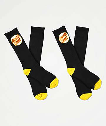 Santa Cruz Black & Gold 2 Pack Tall Crew Socks