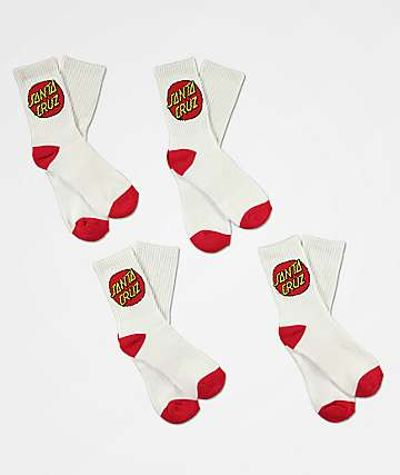 Santa Cruz Boys 4 Pack White Crew Socks