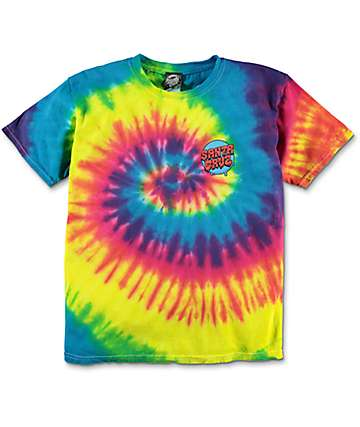 Santa Cruz Boys Screaming Hand Rainbow Tie Dye T-Shirt