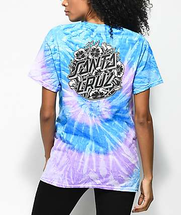 Santa Cruz Cali Poppy Blue Tie Dye T-Shirt