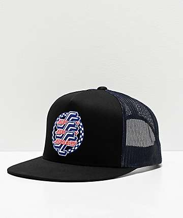 Santa Cruz Check OGSC Black Trucker Hat
