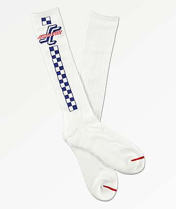 Santa Cruz Check OGSC White Tall Crew Socks
