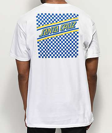 Santa Cruz Checkered & Striped Yellow, Blue & White T-Shirt