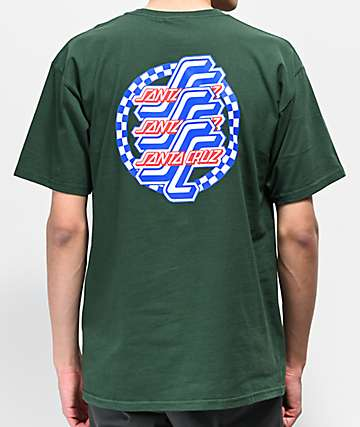 Santa Cruz Checkered OG Script Forest Green T-Shirt