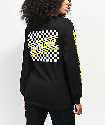 f17790ef1 SALE. Santa Cruz Checkered Stripe Black & Yellow Long Sleeve T-Shirt
