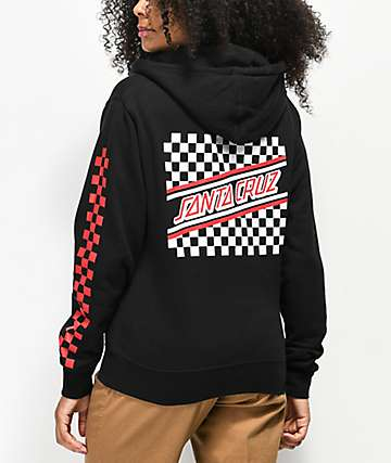 Santa Cruz Checkered Stripe sudadera con capucha negra