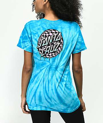 Santa Cruz Checkered Waste Dot Blue Tie Dye T-Shirt
