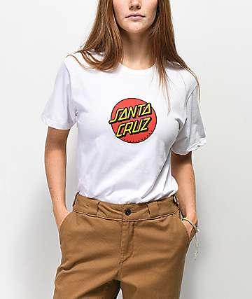 Santa Cruz Classic Dot Front White T-Shirt