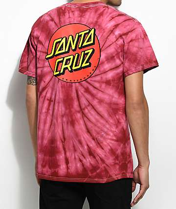 Santa Cruz Classic Dot Red Tie Dye T-Shirt