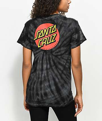 Santa Cruz Classic Dot Spider camiseta negra con efecto tie dye