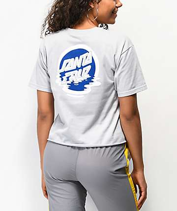 Santa Cruz Dot Reflection Silver Crop T-Shirt