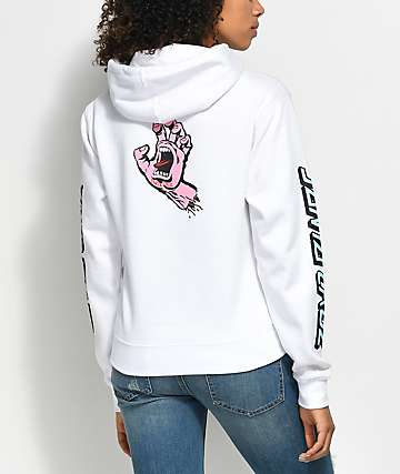 Santa Cruz Double Screaming Hand White Hoodie