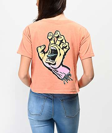 Santa Cruz Fade Hand Peach Crop T-Shirt