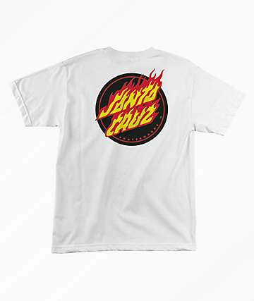 Santa Cruz Flaming Dot White T-Shirt