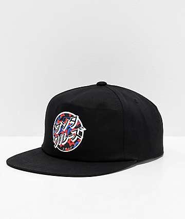 Santa Cruz Japanese Blossom Dot Black Snapback Hat