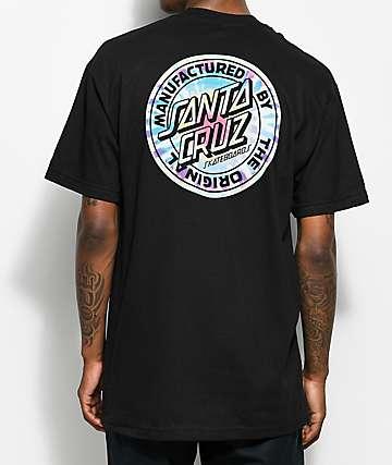 Santa Cruz Manufactured Dot camiseta con efecto tie dye negra