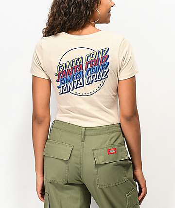 Santa Cruz Multi-Logo Strip Ivory T-Shirt