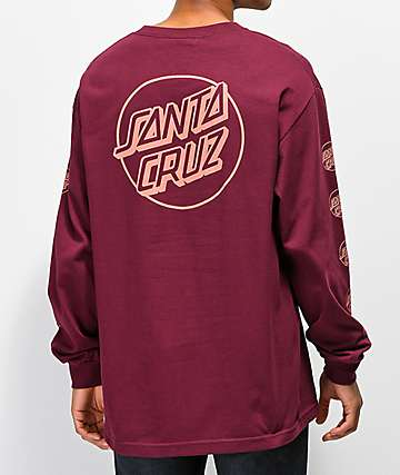 Santa Cruz Opus Repeat Burgundy Long Sleeve T-Shirt