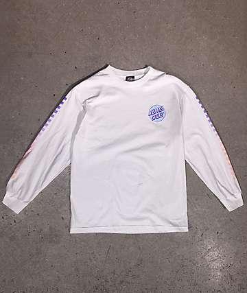 Santa Cruz Other Dot Fade Check White Long Sleeve T-Shirt
