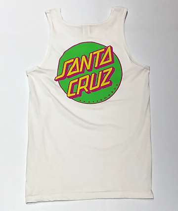 Santa Cruz Other Dot White & Neon Tank Top