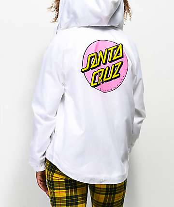 Santa Cruz Other Dot White Windbreaker Jacket
