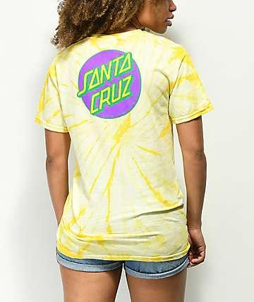 Santa Cruz Other Dot camiseta amarilla con efecto tie dye