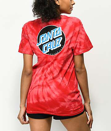 Santa Cruz Other Dot camiseta roja con efecto tie dye