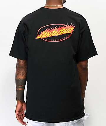 Santa Cruz Oval Flame Dot Black T-Shirt