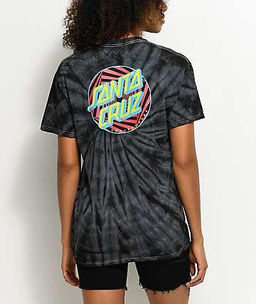 Santa Cruz Party Dot Spider camiseta con efecto tie dye en negro