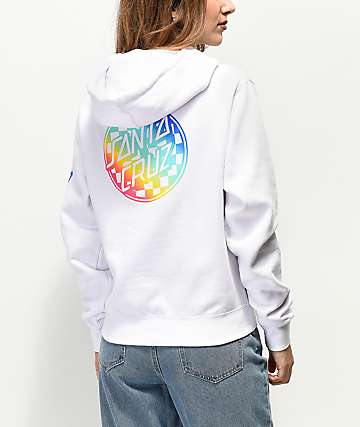 Santa Cruz Rainbow Fade Check White Hoodie