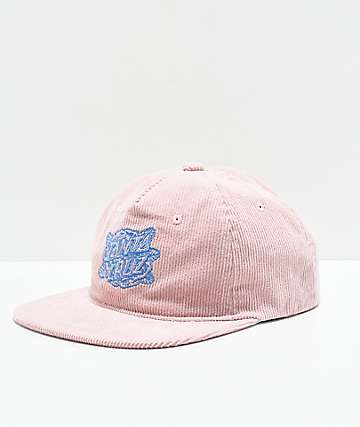 Santa Cruz Rose Dot Dusty Pink Corduroy Strapback Hat