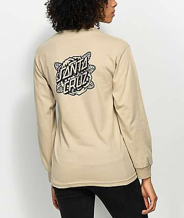 Santa Cruz Rose Dot Mono Sand Long Sleeve T-Shirt