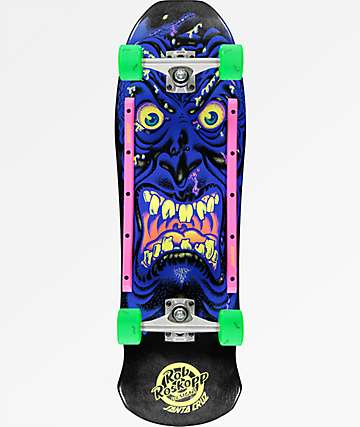 "Santa Cruz Roskopp Face 9.5"" Blue & Black Cruiser Complete Skateboard"