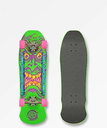 "Santa Cruz Roskopp Face 9.5"" Green Cruiser Complete Skateboard"