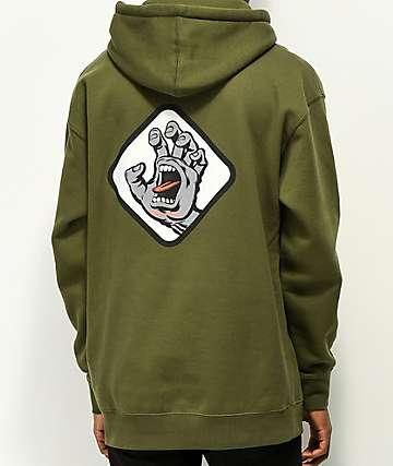 Santa Cruz Screaming Hand Badge Green Hoodie