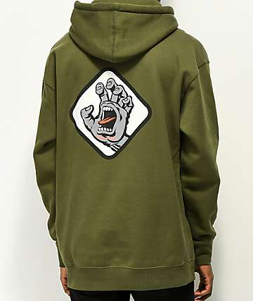 Santa Cruz Screaming Hand Badge sudadera verde con capucha