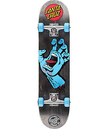 "Santa Cruz Screaming Hand Black 7.5""  Skateboard Complete"