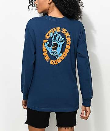 Santa Cruz Screaming Hand Blue Long Sleeve T-Shirt
