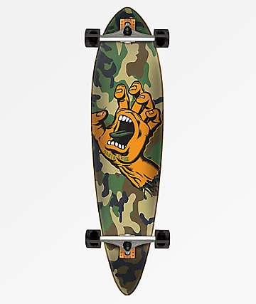 "Santa Cruz Screaming Hand Camo 39"" Pintail Longboard Complete"