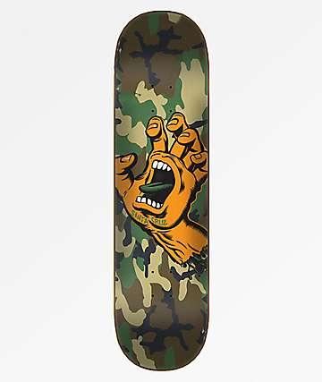 "Santa Cruz Screaming Hand Camo Wide Tip 8.25"" Skateboard Deck"