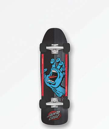 "Santa Cruz Screaming Hand Metal Stripe 9.35"" Cruiser Complete Skateboard"
