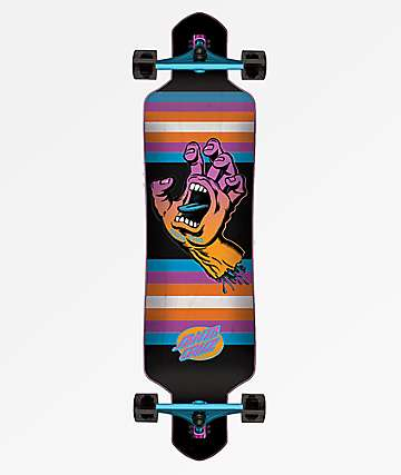 "Santa Cruz Screaming Hand Neon 41.0"" Drop Through Longboard Complete"