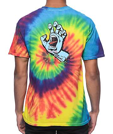 Santa Cruz Screaming Hand Reactive Rainbow Tie Dye T-Shirt