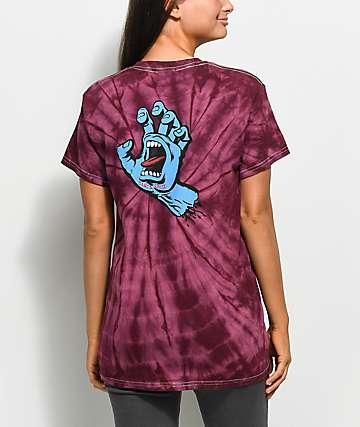 Santa Cruz Screaming Hand Spider camiseta en color ciruela
