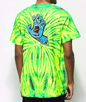 Santa Cruz Screaming Hand camiseta verde con efecto tie dye