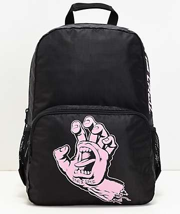 Santa Cruz Screaming Hand mochila negra y rosa